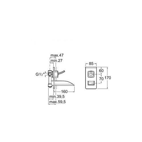 Baterie do umywalek, Bateria Roca Thesis A5A4750C00