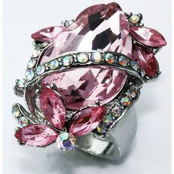 Różowy kryształowy pierścionek z dużym oczkiem