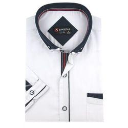 Koszula Męska Speed.A gładka biała SLIM FIT z podwójnym kołnierzykiem na krótki rękaw K629