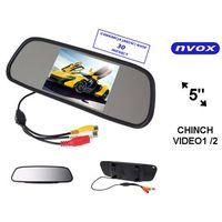 "Monitory samochodowe, NVOX NW5005M Monitor samochodowy cofania LCD 5"" cali LED w lusterku wstecznym AV 12V"