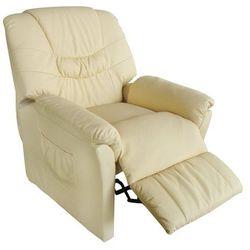 vidaXL Fotel wypoczynkowy z funkcją masażu. Podgrzewany, kremowy Darmowa wysyłka i zwroty