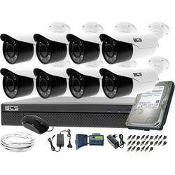 Kompletny zestaw do monitoringu hali magazynu sklepu 8 kamer BCS-TQE3500IR3-B Rejestrator BCS-XVR0801-III Dysk 1TB