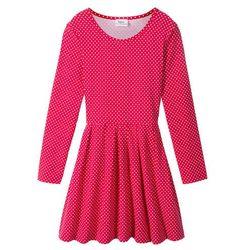 Sukienka dziewczęca z dżerseju, długi rękaw bonprix czerwono-biały w kropki