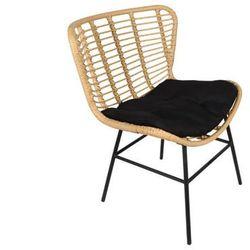 Fotel ogrodowy NICOVA z technorattanu - Czarne siedzisko