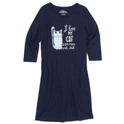 Koszula nocna, rękawy 3/4 bonprix ciemnoniebieski z nadrukiem