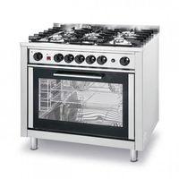 Piece i płyty grzejne gastronomiczne, Kuchnia gazowa - 5-palnikowa Kitchen Line z konwekcyjnym piekarnikiem i z grillem Hendi