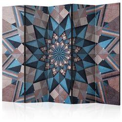 Parawan 5-częściowy - Gwiezdna mandala (brązowo-niebieski) II [Room Dividers]