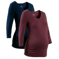 Shirt ciążowy z rękawami 3/4 (2 szt.), bawełna organiczna bonprix ciemnoniebieski + czerwony klonowy