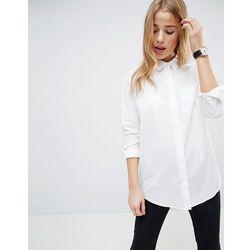 ASOS DESIGN slim boyfriend shirt with pleat detail back in stretch cotton - White