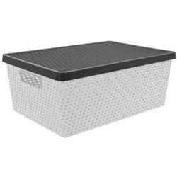 Pudełko, pojemnik do przechowywania, prostokątne, zamykane, kosz na pranie - 37 x 27x 16 cm