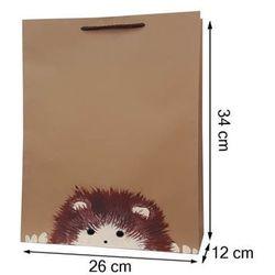 Torebka ozdobna prezentowa ręcznie malowana 34x26 - jeżyk
