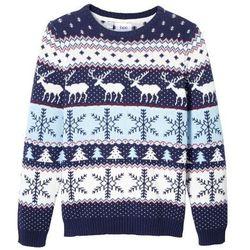 Sweter chłopięcy w renifery bonprix niebiesko-biały