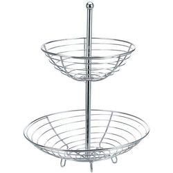 Koszyk na owoce i warzywa, 2 poziomy, chrom, stylowy wygląd, stabilna konstrukcja, ażurowy, do kuchni lub salonu