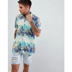 ASOS DESIGN oversized hawaiian palm tree printed shirt with revere collar - Blue
