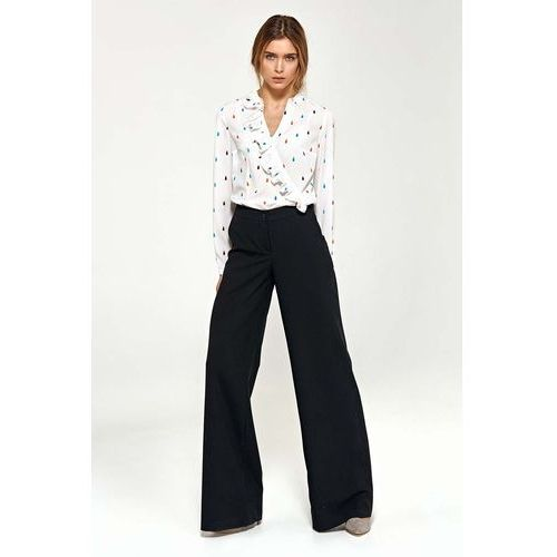 Spodnie damskie, Czarne Eleganckie Spodnie Typu Plazzo