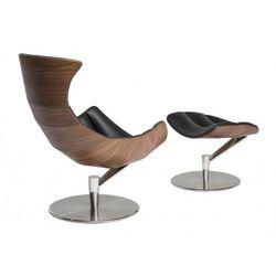 Fotel z podnóżkiem Arhus czarna skóra/jasny orzech