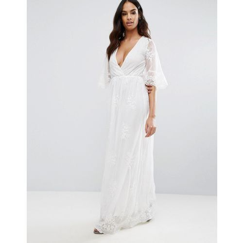Suknie i sukienki, Club L Embroided Detailed Lace Wrap Front Maxi Dress - White