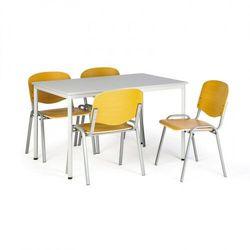 Zestaw stół do jadalni i stołówki, 1200x800mm, szary + 4 krzesła drewniane ISO