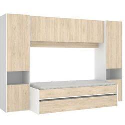 Wysuwane łóżko selena z zabudową – 90 × 190 cm – kolor: dębowy i biały marki Vente-unique.pl