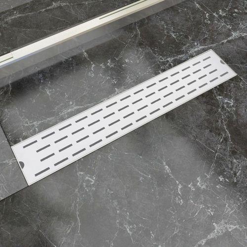 vidaXL Kratka odpływowa, liniowa, 630x140 mm, wzór linii, stal nierdzewna