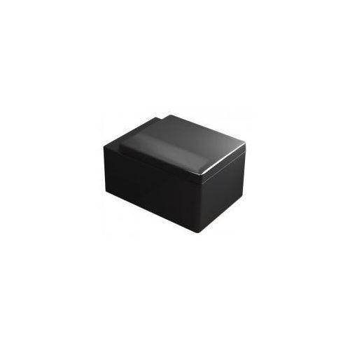 Hugo black miska wc wisząca + deska duroplast wolnoopadająca, czarny połysk marki Pozostali