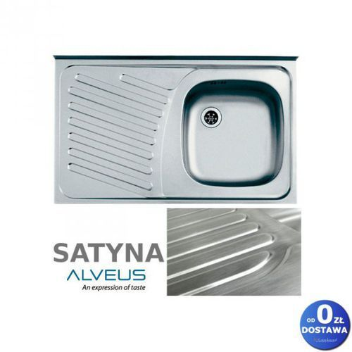 """Alveus Compact 10 satyna 80x50x15 cm zlewozmywak nakładany ociekacz lewy 1-komorowy ze stali nierdzewnej + syfon 1 1/2"""""""
