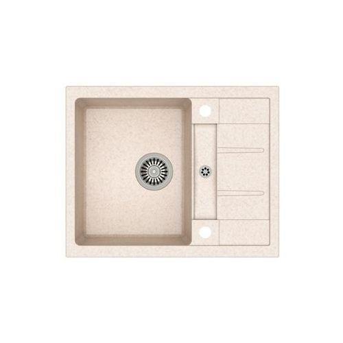 Zlew granitowy ze stalowym syfonem Quadron Morgan 116 - Beżowy, kolor beżowy