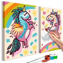 Obraz do samodzielnego malowania - grubiutkie jednorożce marki Artgeist