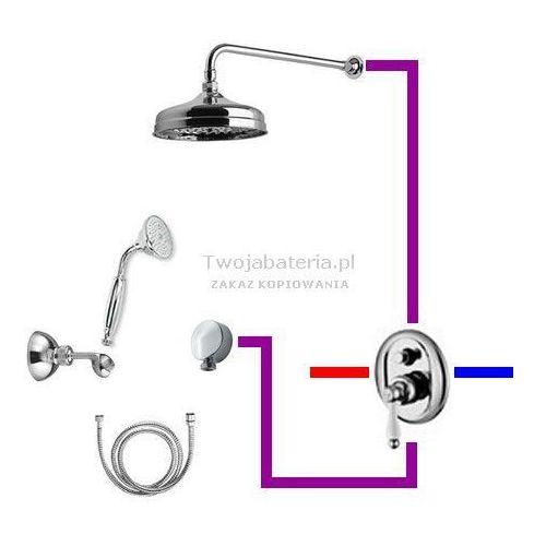hermitage kompletny zestaw prysznicowy deszczownica słuchawka z uchwytem retro 44zes20 marki Giulini giovanni