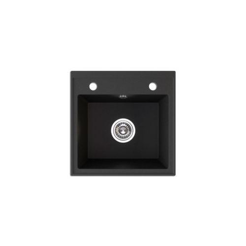 trzynastka zlewozmywak granitowy 44x44x17cm, granit czarny sgy 710t marki Laveo