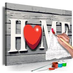 Obraz do samodzielnego malowania - home z czerwonym sercem marki Artgeist