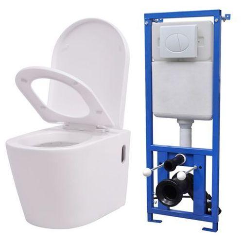 vidaXL Podwieszana toaleta ceramiczna ze spłuczką, biała (8718475554875)