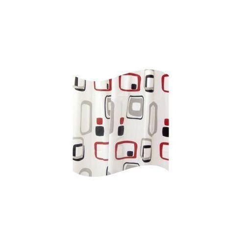 AWD INTERIOR Zasłonka prysznicowa PEVA 180 x 180 cm czarno czerwono biała AWD02101107, AWD02101107