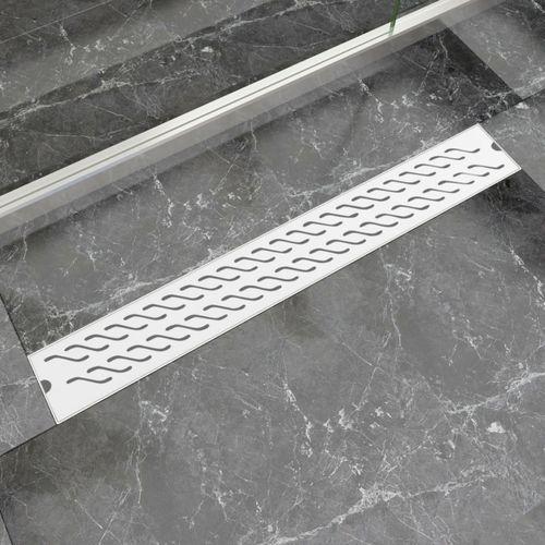Vidaxl  kratka odpływowa, liniowa, 830x140 mm, wzór fali, stal nierdzewna