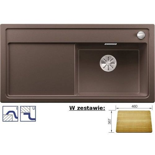 Zlewozmywak ZENAR XL 6S Silgranit PuraDur kawowy prawa komora z korkiem InFino i korkiem aut. z deską drewnianą (4020684687928)