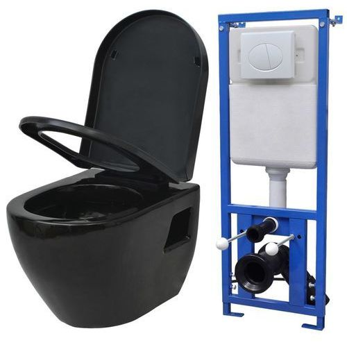 Podwieszana toaleta, ze zbiornikiem, ceramika, czarna