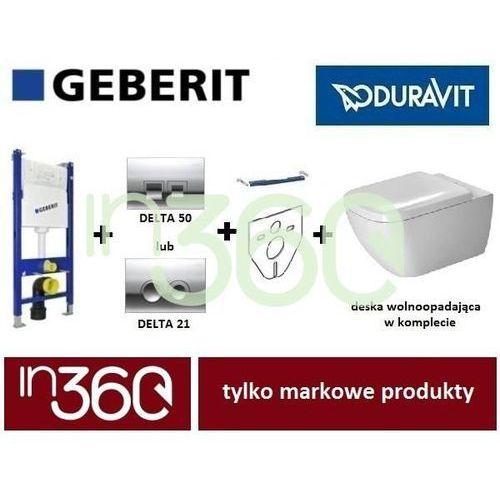 Geberit Duravit Happy D.2 Zestaw Stelaż podtynkowy Miska WC wisząca z deską wolnoopadającą (111.153.00.1+111.813.00.1+2222090000+0064590000) IN.000Z105
