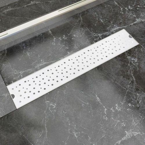 Vidaxl kratka odpływowa, liniowa, 630x140 mm, wzór w kropki, stal nierdzewna
