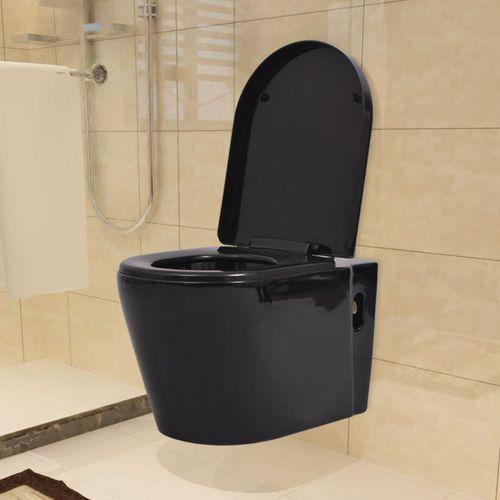 Vidaxl podwieszana toaleta ceramiczna, czarna (8718475531340)