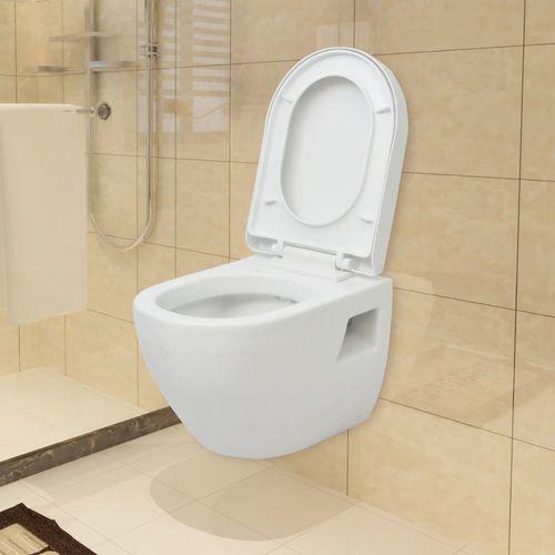 Toaleta wisząca ceramiczna, biała marki Vidaxl
