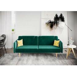 Big meble Sofa kanapa wersalka rovigo welur zieleń butelkowa rozkładana z funkcją spania dostawa 0zł