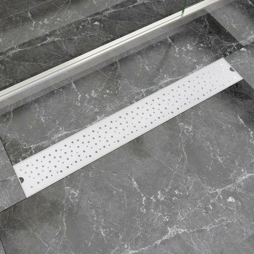 Vidaxl  kratka odpływowa, liniowa, 830x140 mm, wzór w kropki, stal nierdzewna