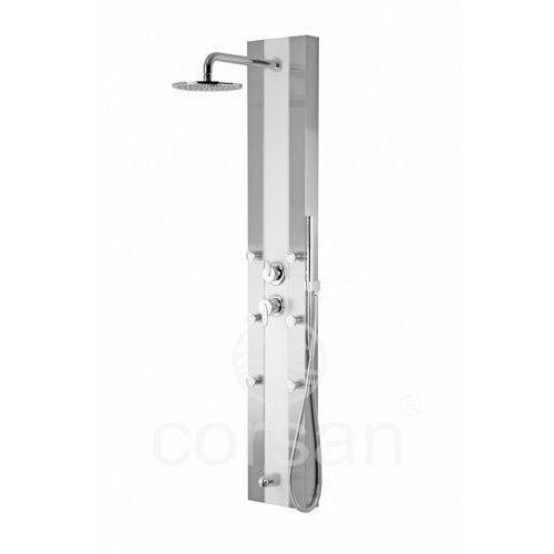 Corsan ARAGA panel prysznicowy biały z mieszaczem i wylewką S-011, S-011biały