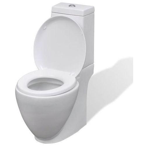 Vidaxl Ceramiczna toaleta ze spłuczką, okrągła, biała
