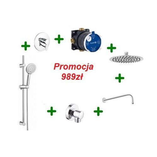 Kludi zenta kompletny zestaw prysznicowy z drążkiem i deszczownicą oxy 25cm 386500575