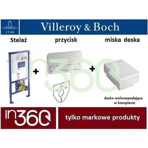 Villeroy ViConnect Memento, Zestaw stelaż podtynkowy z miską WC, z deską w/o, przycisk chrom błyszczący (92246100+92249061+56281001+9M17S1R1) IN.000Z212
