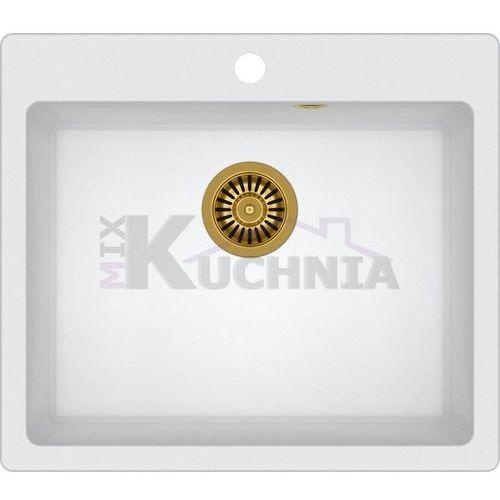 QUADRON zlewozmywak MORGAN 110 biały metalik / odpływ złoty PVD (HB8304U1-G1)