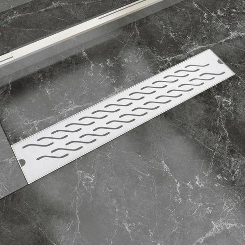 kratka odpływowa, liniowa, 630x140 mm, wzór fali, stal nierdzewna marki Vidaxl