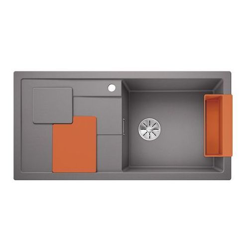 sity xl 6 s silgranit puradur alumetalik prawa, infino, z akcesoriami orange - alumetalik marki Blanco