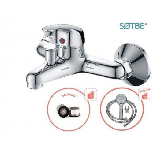 Bateria wannowa ścienna atran z zestawem prysznicowym marki Sotbe